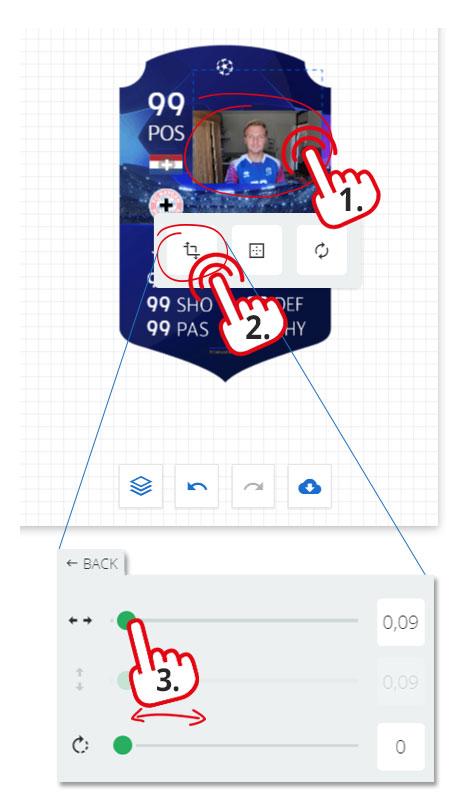 grootte spelersfoto wijzigen fut card